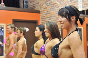 Women In Fall Figure & Bodybuilding Posing Class.